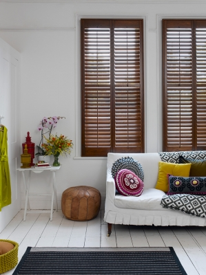 Exposed Wood Grain Shutters